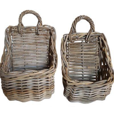 Set 2 Oblong Grey Hanging storage Baskets