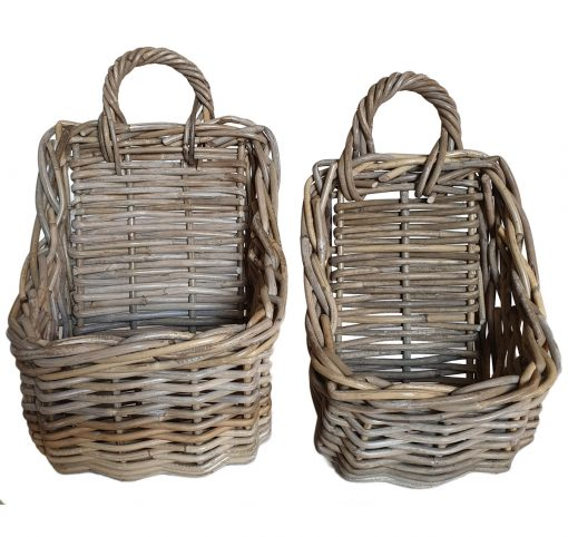 Set 2 Oblong Grey Hanging storage Baskets