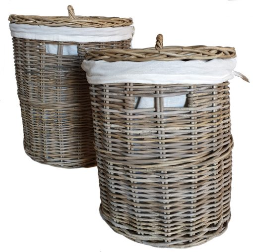13-5054-Set 2 Round Grey Laundry Baskets with Calico Liner