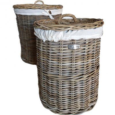 Set 2 Round Grey Laundry Baskets with Calico LinerSet 2 Round Grey Laundry Baskets with Calico Liner