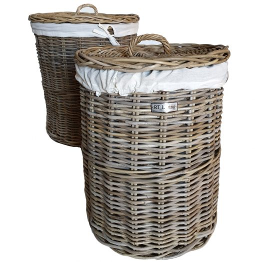 Set 2 Round Grey Laundry Baskets with Calico LinerSet 2 Round Grey Laundry Baskets with Calico Liner