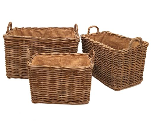 10-6854 Set 3 Oblong Grey Lined Log Baskets
