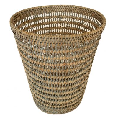 11-9037G Round Grey Open Weave Waste Paper Basket